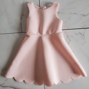 Zunie Pink Scuba Dress w/ Scalloped Hem
